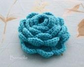 Crochet flower brooch, shawlpin, turquoise blue I881