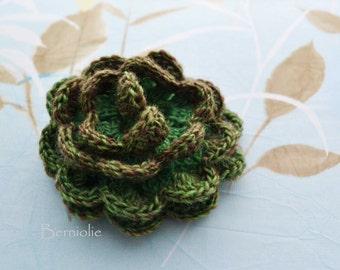 Crochet flower brooch, shawlpin, green, copper I860