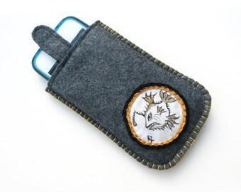 Wool iPhone 4 Case Angler Fish on Gray Wool Felt