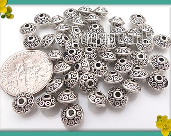 50 Antiqued Silver Saucer Spacer Beads, 6mm x 4mm Beads, Spacer Beads, Silver Spacers