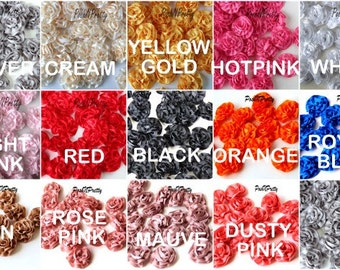 "MINI 1.5"" SATIN Single Ruffle flowers - Set of 10- CHOOSE Colors"