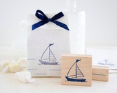 Sailboat and Waves Rubber Stamp Set - Beach Fun for Wedding Projects Kids Crafts Scrapbooks & Travel Vacation Journals
