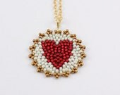 Beaded Heart Mandala Necklace ( cherry red / ivory ) - - - gold-filled chain/ Unique/ Sweet/ Holiday Gift for Mother, Daughter, Girlfriend