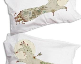 Zombie Hands Pillow, Tattoo Flash, Pillowcase Pair
