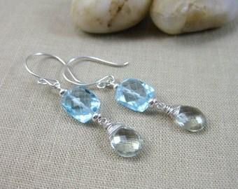Gemstone Dangle Earrings Blue Topaz Prasiolite Sterling Silver - Sea and Sky