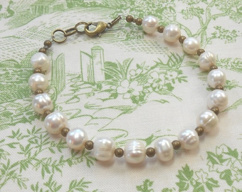 Freshwater pearl and Brass Bracelet