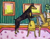 doberman pinscher piano signed artist print 8x10 impressionism modern folk gift