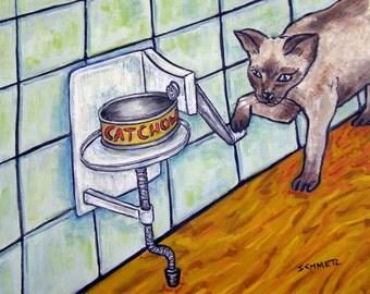 Siamese Cat art PRINT poster gift JSCHMETZ modern folk  gift can opener