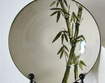 Large Bowl With Painted Bamboo
