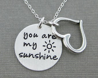 SALE 30% Off - You are my sunshine necklace - Sterling Silver necklace with a Heart charm - Keepsake (RTS015)