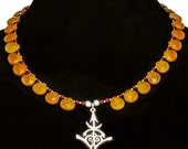 Sterling Silver & Sunstone Goddess Necklace - Kurukulla