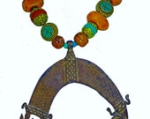 African Lobi Tribal Bronze Amulet - Crocodiles