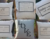 16x16 personalized pillow name discount  pillow, sized for 16x16 insert Not Quite perfect .....personalized family print pillow cover