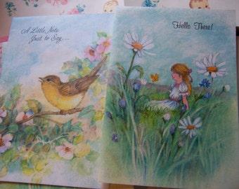 seven adorable vintage cards
