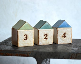 Housewarming, new house gift  ... THREE handmade number houses, custom made to order, with your house number