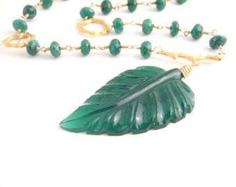 Emerald Statement Necklace With Carved Green Onyx Leaf Pendant - Rosary Style - Emerald Green - Gold - Wire Wrapped
