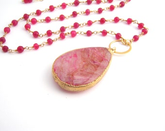 Ruby Pendant Necklace, Agate Teardrop, Rosary Style, Red, Pink, Light Brown, Large Pendant, July Birthstone