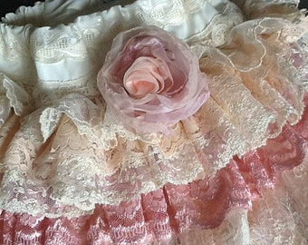 Vintage Ruffled Lace Flower Girl Skirt, Pink, The LILLIAN by Rosanna Hope for Babybonbons Easter lace skirt, birthday Party