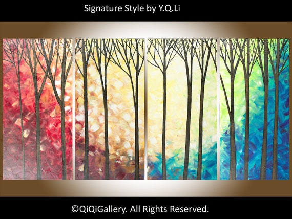 "48""large Oil landscape Painting Textured  impasto  Wall art  ""The Enchanted Forest"" by QIQIGALLERY"