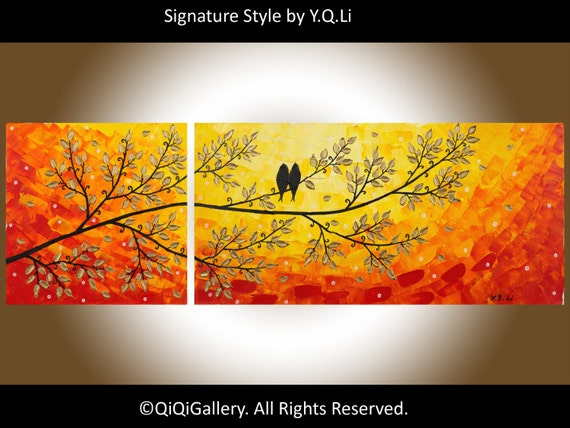 """36"""" Contemporary Red Abstract Painting Palette Knife Tree Birds landscape Wall Decor """"A Better Tomorrow"""" by QIQIGALLERY"""