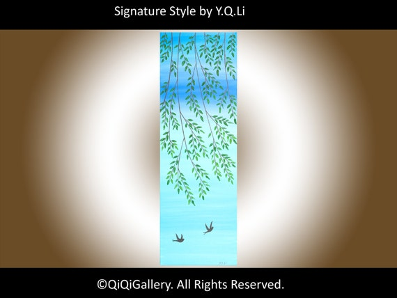 "Original Landscape Painting Palette Knife willow Tree swallow Painting Wall Décor ""Swallows in Springtime"""
