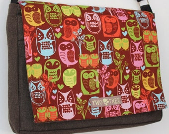 Heather Brown Retro OWL Print MESSENGER ipad Laptop Diaper BAG