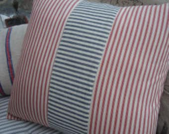 "Shabby Chic 18"" French Cottage Red and White Ticking Pillow"