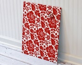 Fabric Covered Magnet Board 16 inch x 20 inch Red Floral on Ivory