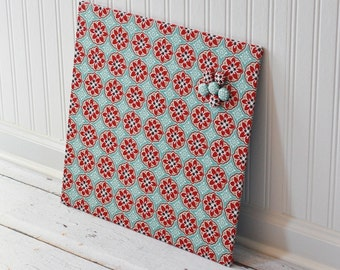 Wall Mount Magnet Board 16inx16in No Frame - Blue and Red Blossoms fabric