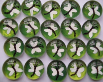 Hand painted glass gems party favors  DRAGONFLIES DRAGONFLY  green background