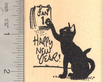 Happy New Year Black Cat Rubber Stamp J15511 Wood Mounted