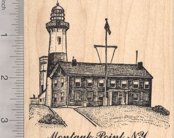 Montauk Point, New York Lighthouse Rubber Stamp   O20517 Wood Mounted