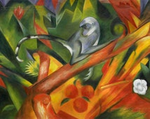 The Monkey - Franz Marc high quality hand-painted oil painting reproduction (36 x 50.8 in., In Stock)