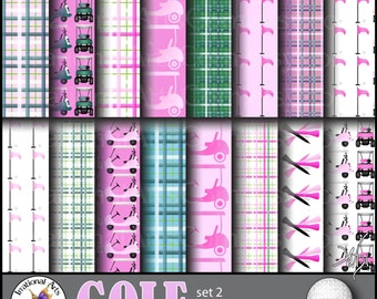 GOLF Pink set 2 - digital papers 16 png files - plaids carts ball tees flags [INSTANT DOWNLOAD]