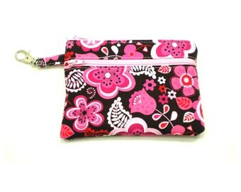 Larger Zippered Wallet Change Purse Gadget Case  Pink and Brown Flowers