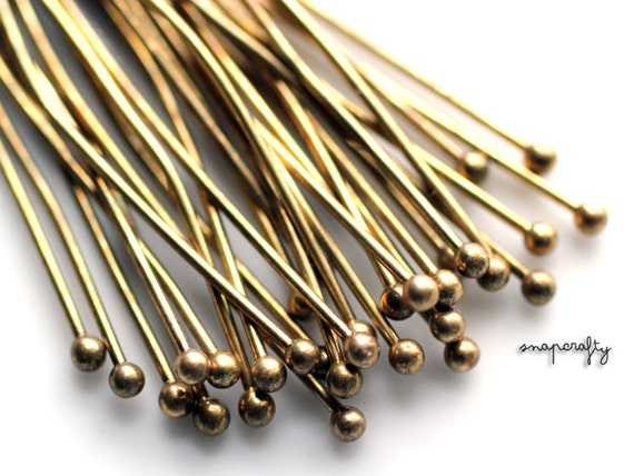 25pc ball headpin / antique brass 2 inch ball end head pin / high quality lead free jewelry findings