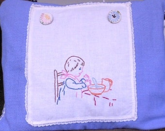 Vintage FABRIC PILLOW cover, EMBROIDERED, checked back, buttons, ooak