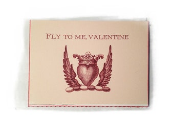 Valentine Notecard, Valentine Heart Crown, Valentine Notes, Heart with Wings, Arrow and Heart