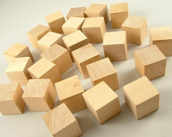 26 Wood Blocks, Square - 1 inch Unfinished Wooden Blocks for DIY
