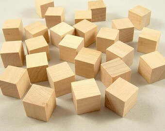 25 Wood Blocks, Square - 3/4 inch - Wood Cubes - Unfinished Wooden Blocks for DIY
