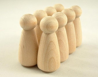 20 Wood Peg Dolls - Girls - Unfinished Wooden Peg Dolls for DIY