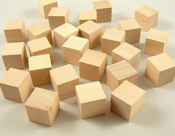 Wood blocks square inch cubes baby shower