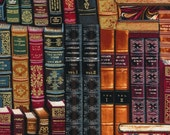 LIBRARY BOOKS Multi Book Bookshelf Novelty Cotton Quilt Fabric - by the Yard - High Quality Gold Etching