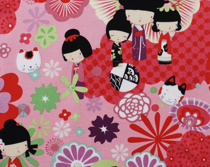 KAORI KOKESHI Pink Red Indochine Kitty Doll Quilt Fabric - by the Yard - Out of Print - Very RARE Alexander Henry