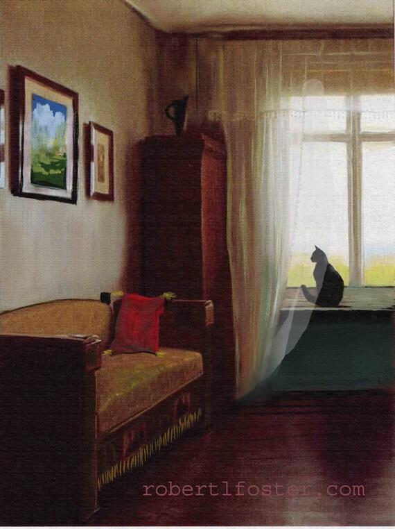 black cat art, black cat painting, cat print in window, curtain cat, kitty art, kitten print,