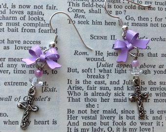 Lavender lilac bow and cross earrings