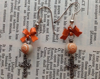 Tangerine Our Lady of Guadalupe and cross earrings