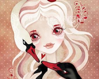 Swan Princess 8 x 10 inches Digital Illustration Art Print by Sandra Vargas