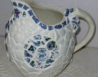 "Vintage Broken China Ceramic Shards Mosaic Pitcher, Beautiful ""Windsor"" Pattern"