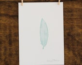 SALE- 50% Off- Mint Feather- Original 5x7 Watercolor painting